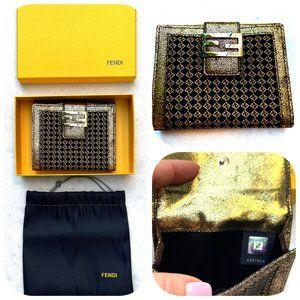 FENDI Trifold Zucca Gold/Black Monogram Wallet